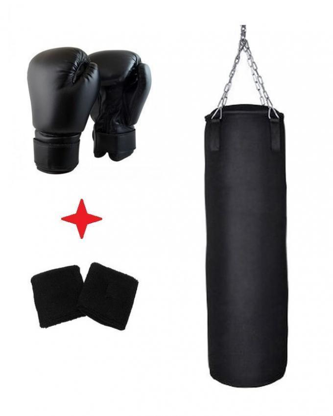Pack of 3 - Boxing Bag + Gloves + Wrist Grip - Black Training Fitness MMA Boxing Punching Bag With Hanger Empty Sport Kick Sandbag Muay Thai Boxer Gym Heavy Musculation Sandbag Men Women Kids pair PU Leather Kick Boxing Gloves Karate Muay Thai MMA Boxing