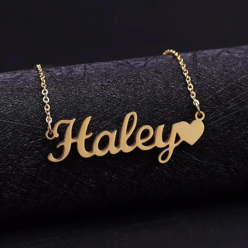 Tiny Heart Love Design Gold Plated Single Name Locket, Get Any Personalized  Name Necklace for Gift Item, Customized Jewelry online, Name Necklace