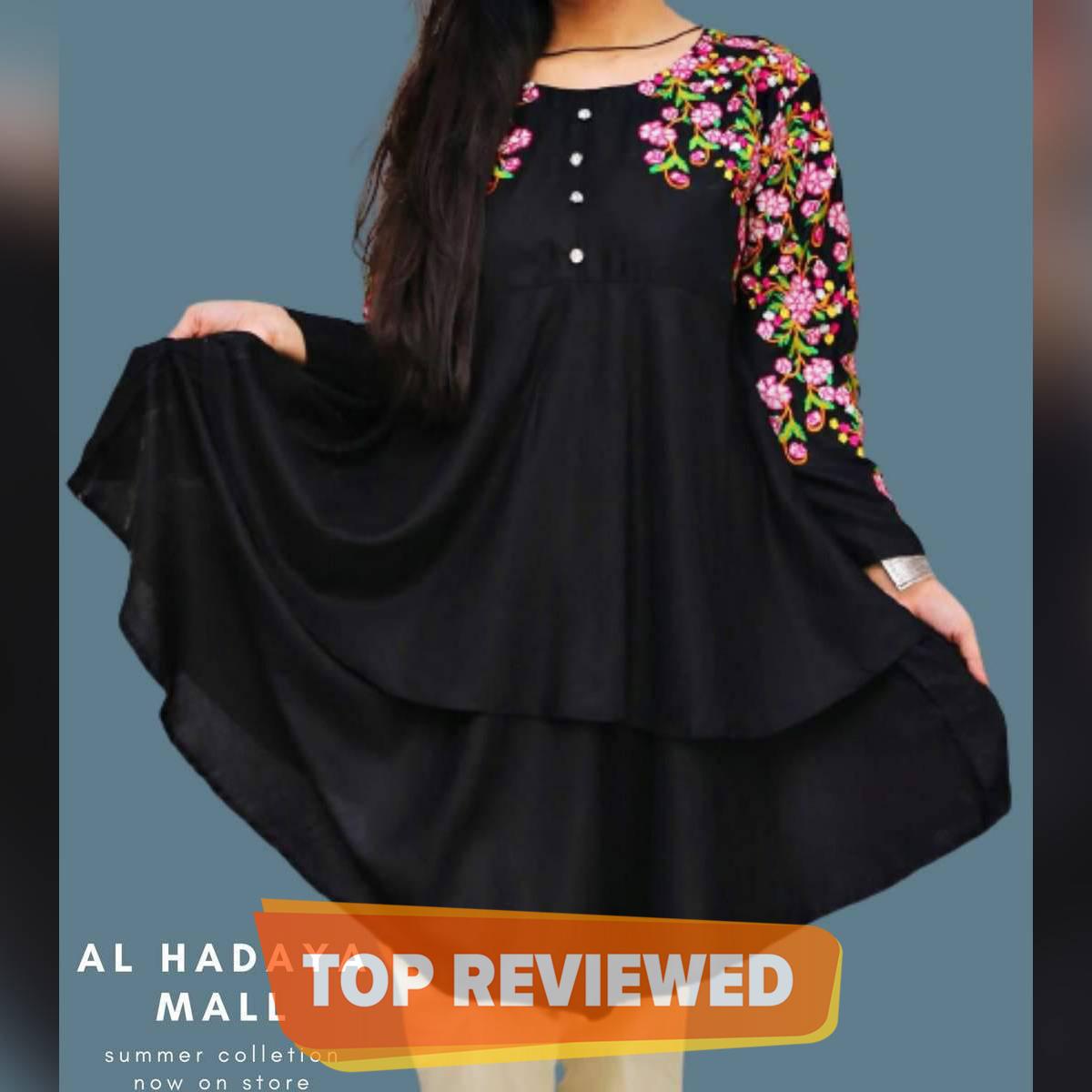 Embroidered umbrella frock style kurti shah posh Flowery summer stuff collection 2021 for girls in black kurta