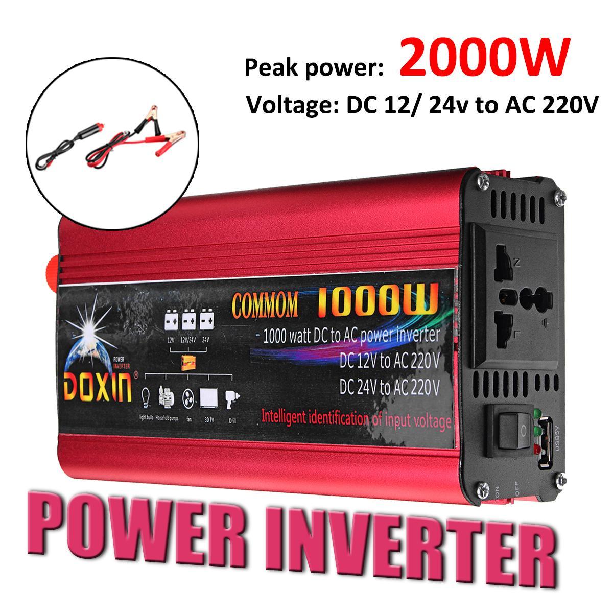 1000W//2000W Car Power Inverter DC 12V//24V to AC 220V Sine Wave Converter W//