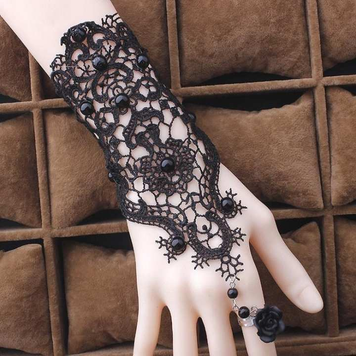 Gothic Style Lace Rose Bracelet with Ring