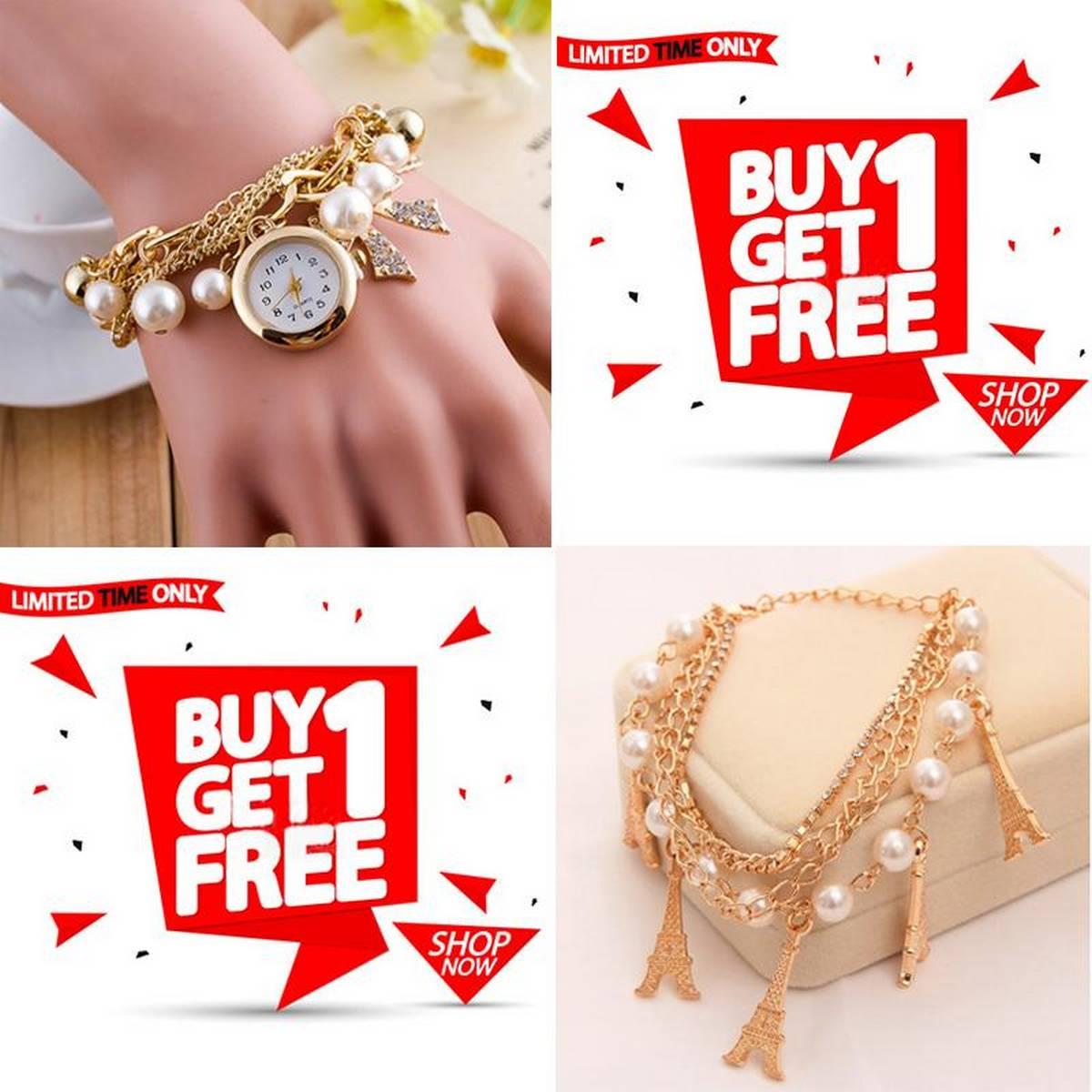 Stylish Bracelet Watch With Free Random Design Bracelet For Women/Girls