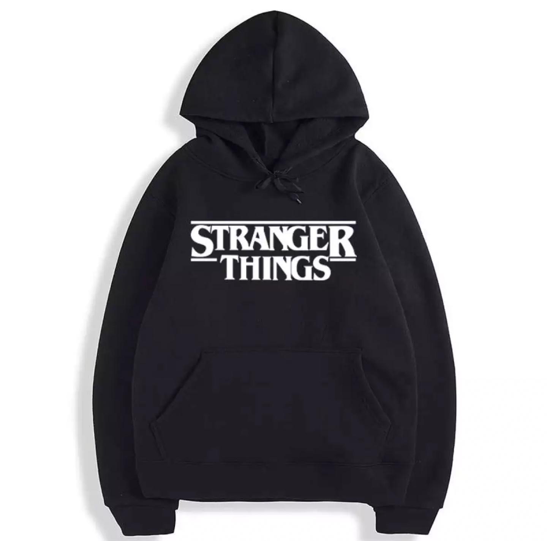 Stranger things printed Black Kangro hoodie