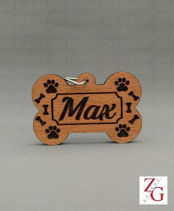 Dog Collar Tag - Name Tag - Customizable - Wood And Acrylic Laser Cut And Engraved - Bone Shape