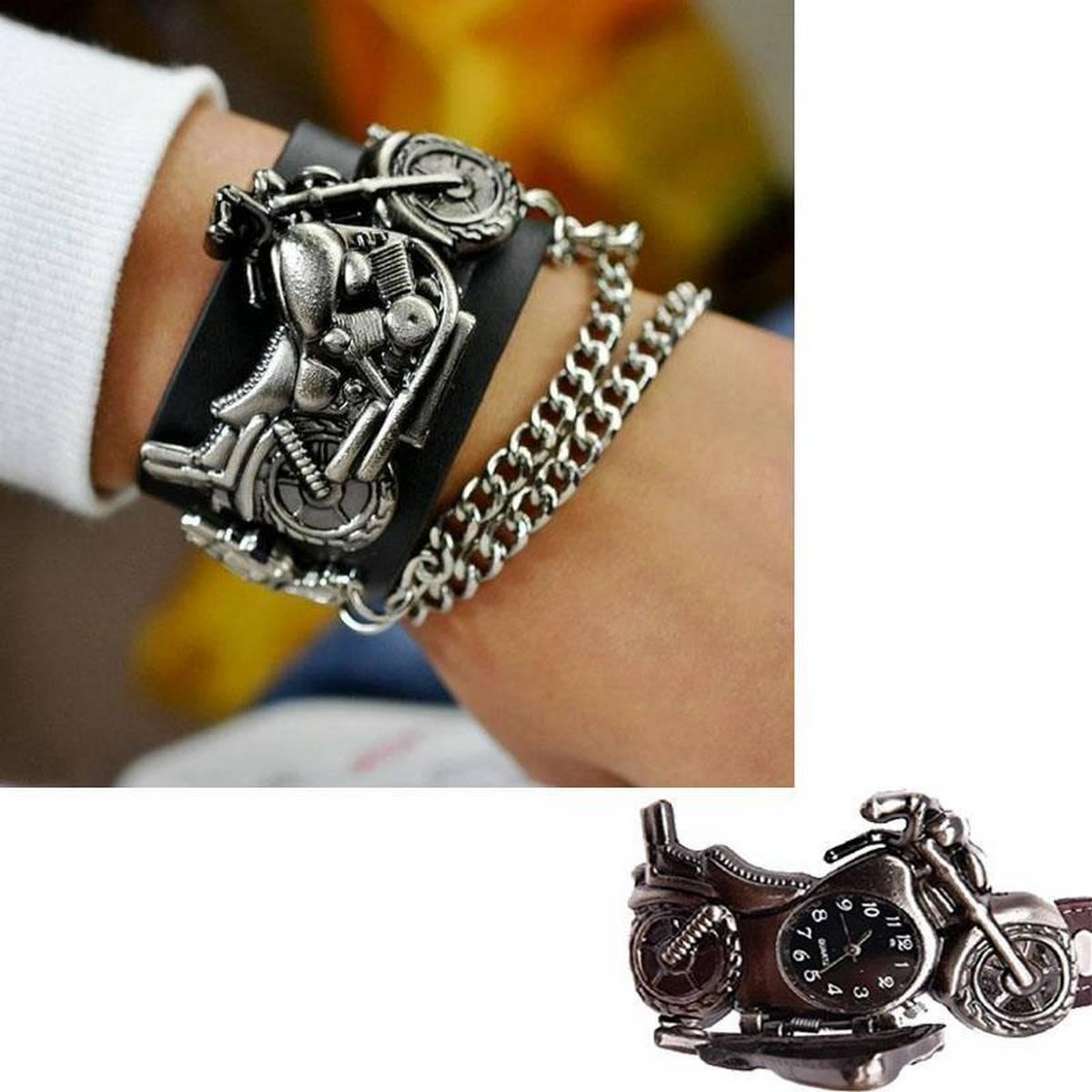 Cool Motorcycle Leather Wild Quartz Bracelet Watch For Unisex