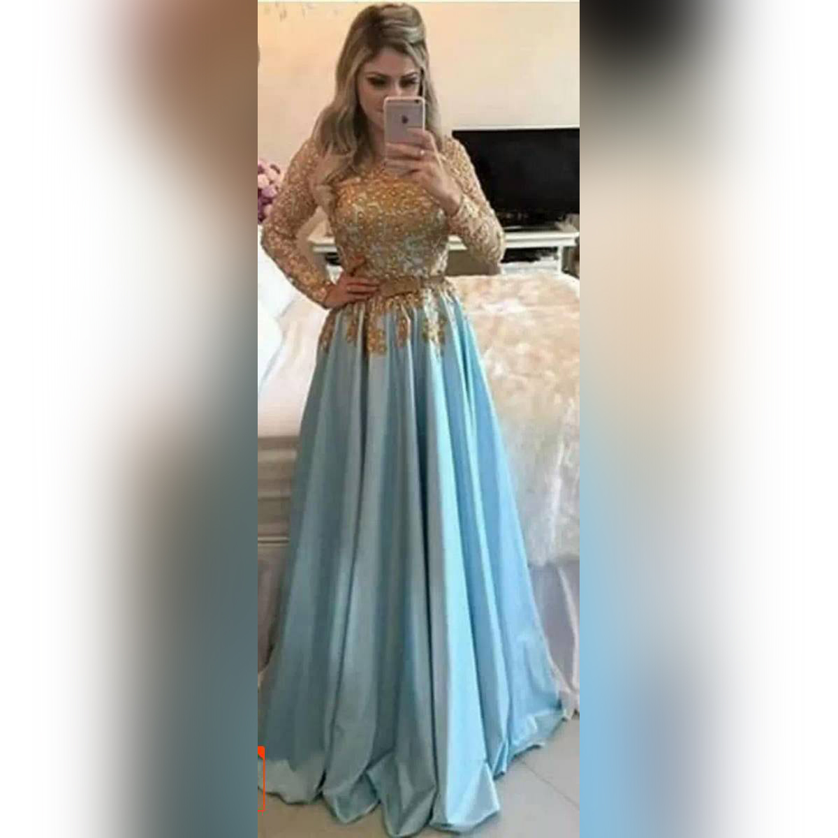 Baby Blue and Golden Prom Dress for Female 012