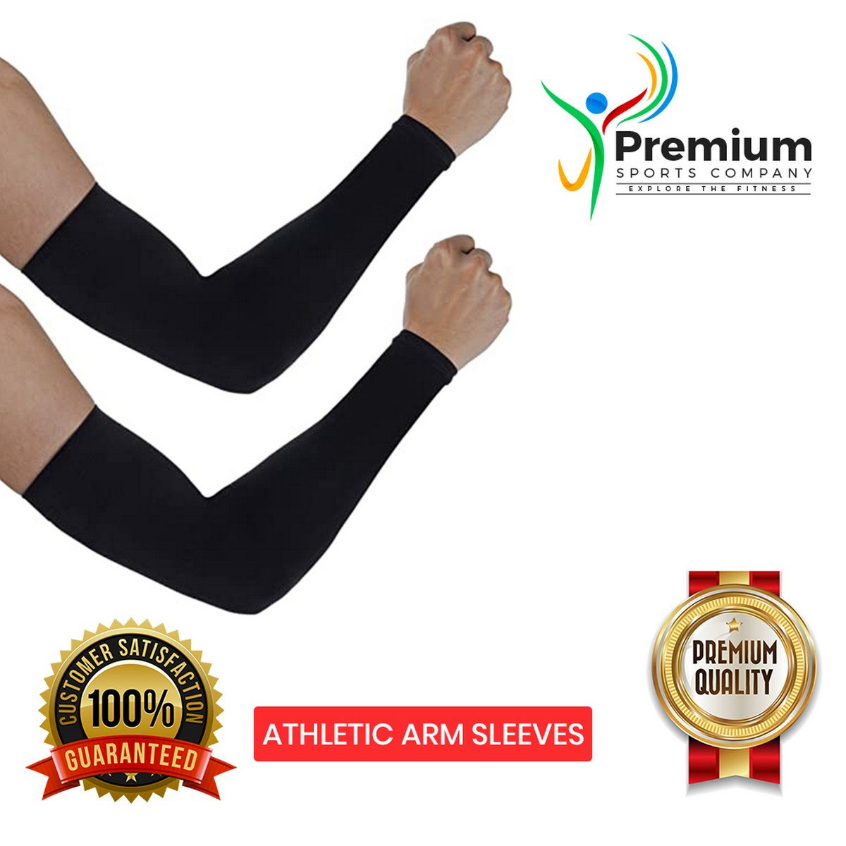 PREMIUM SPORTS Pair of Athletic Arm Sleeves | Performance Arm Muffs | Cooling, Absorbs Sweat, Cover Sunlight, Protects Against Germ and Dirt Cover Suitable For Hiking, Running, Sports - (Unisex, 15 Inch) - Black