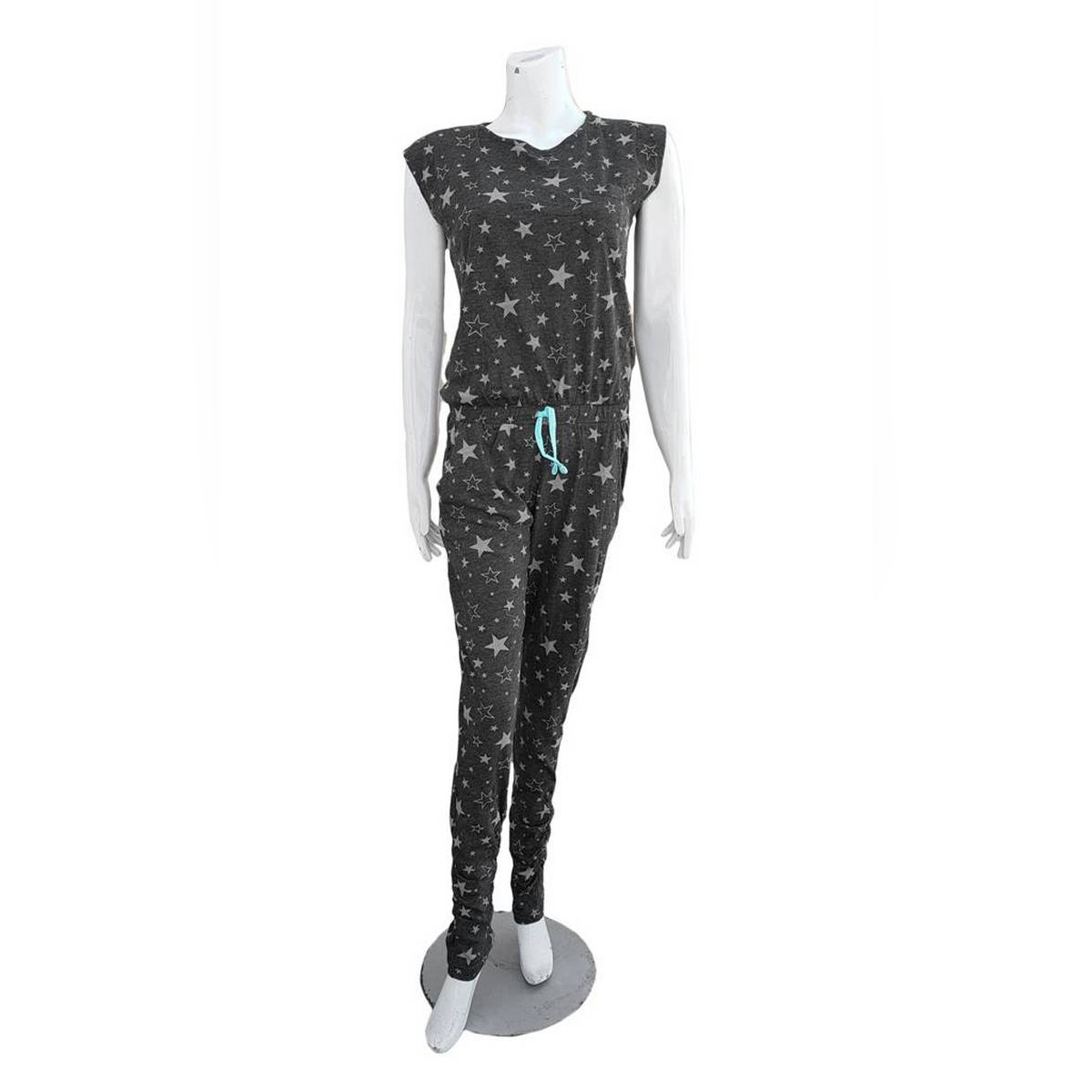 Women Fashion Dark Grey Star Casual Jumpsuit Summer High Quality Jumpsuit