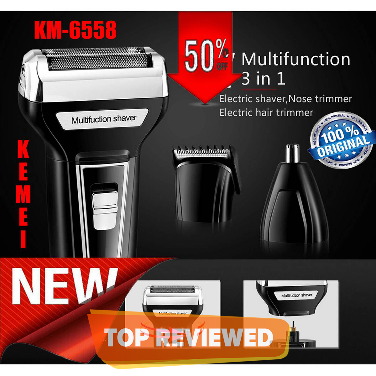 Kemei km-6558 Hair Clipper Razor Shaver Nose Trimmer 3 in 1 beard styling for men Rechargeable Hair Removal machine KM 6558