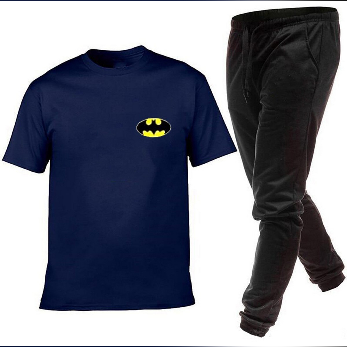 Batman Logo Printed Navy Tracksuit Half Sleeves T shirt And Plain Trouser 2021 New Collection Gym Sports Wear Casual Cotton Fashion T shirts For Men