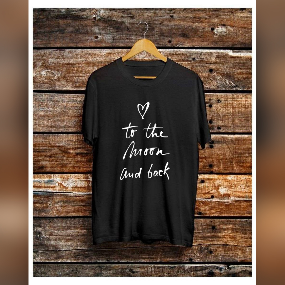Trendy To The Moon and Back Theme Tag Print Black Colored Summer Top Half Sleeve Tee Shirt Round Neck Cotton Trendy T-shirt Casual Tshirt Spring Wear Smart Fit Half Sleeve Tee Shirt for Women/Girls