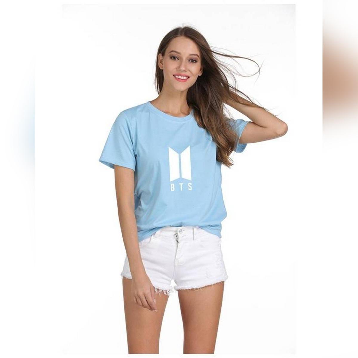 BTS Sky Blue Cotton Tshirt For Women 2020102