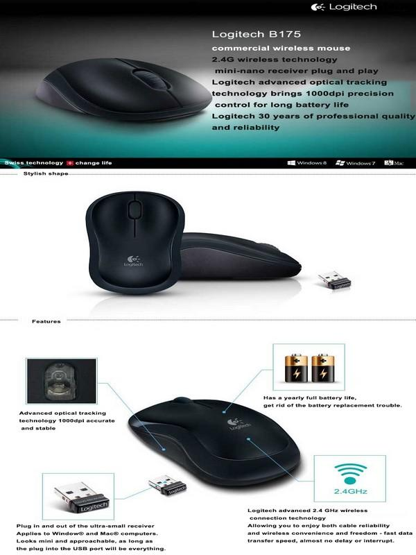 Logitech B175 Plug-and-play Nano Receiver Wireless Plus Comfort Mini Mouse  Mouse For Laptop PC Computer Branded warranty 1000DPI