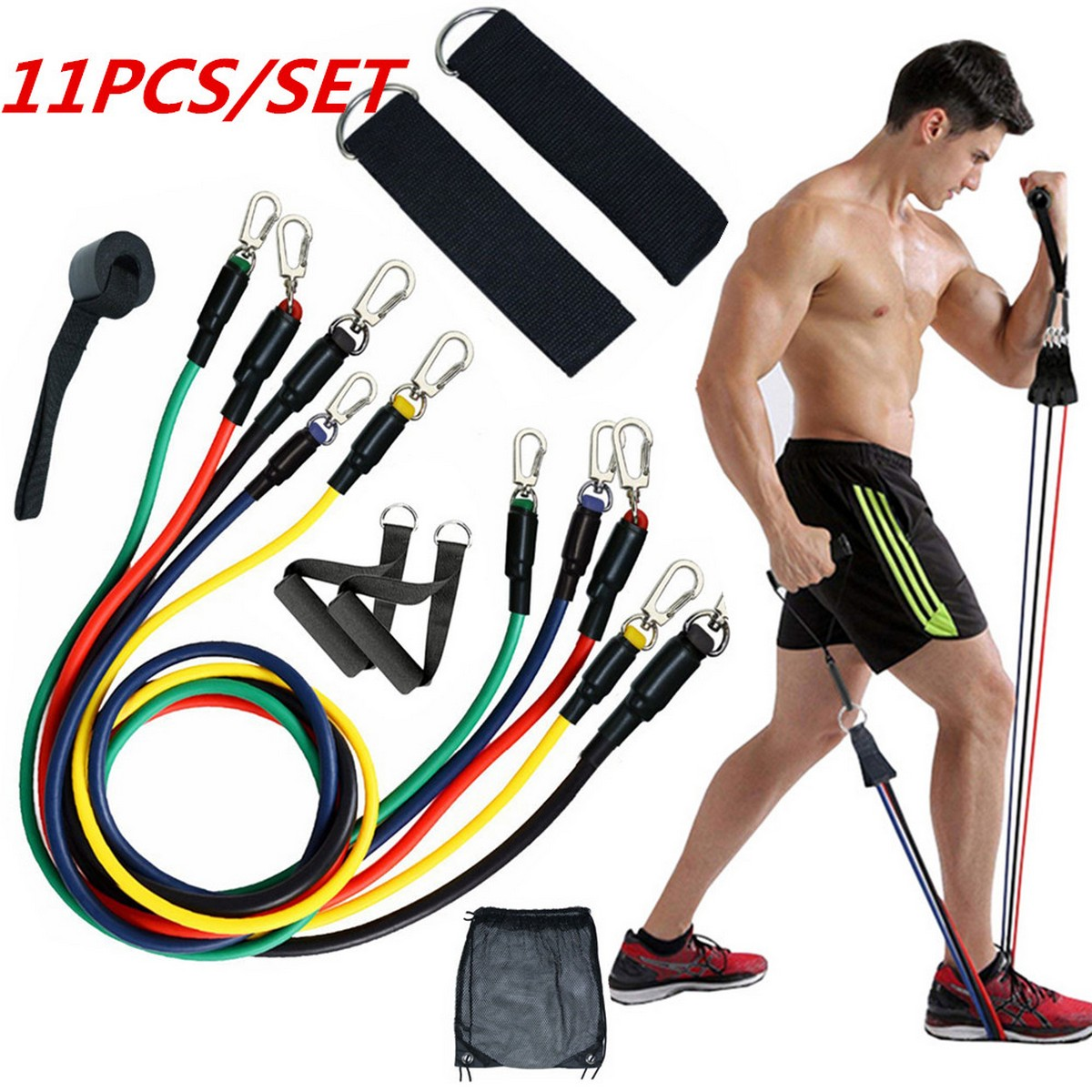 11PC Resistance Bands Set with Fitness Tubes Fitness Exercise Resistance Bands Set Men Women, Fitness Stretch Workout Bands Foam Handles, Ankle Straps, Door Anchor for Home Gym Fitness, Physical Therapy
