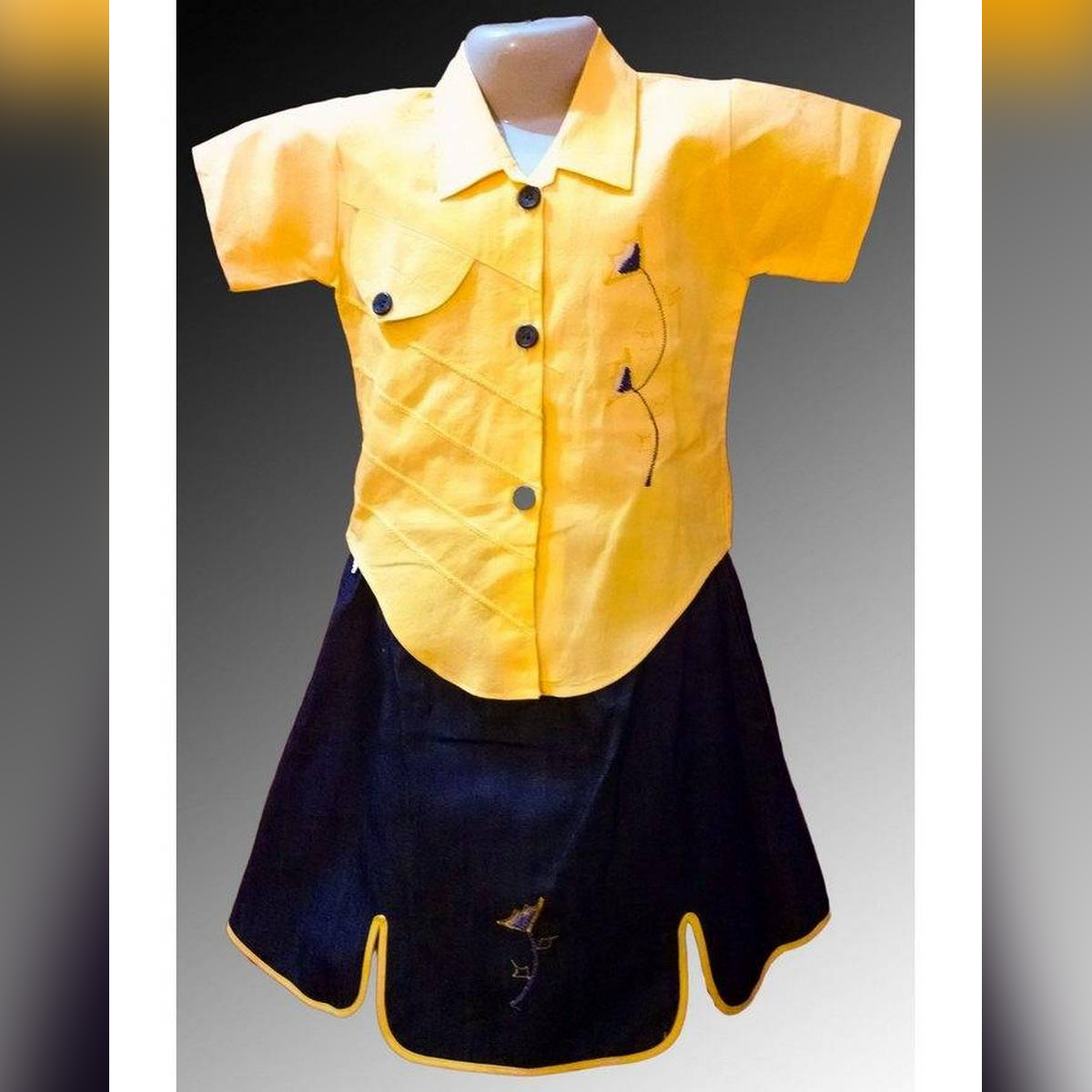 Wardrobe Desire Summer Collection Yellow Stone Washed Contrast Skirt Dress For Girls 4 to 8 Years