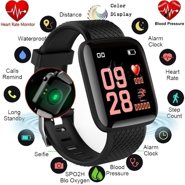 D13 Smart Watch 1.3 Inch Color Screen Health Bracelet Fitness Tracker Activity Tracker Call Receiving Function Heart Rate Blood Pressure Monitor 116PlusSmart Band Waterproof Smart watch For Android Bluetooth Connectivity Show Calls and messages ETC