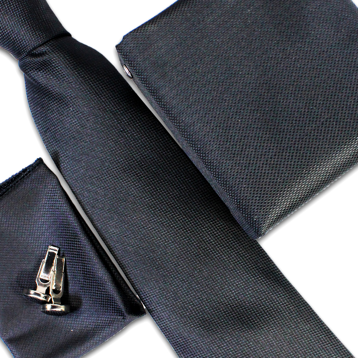 Cut Price Tie Gift Box Set 3 Pcs Tie Cuff-Link Pocket Square Black Dots Pattern