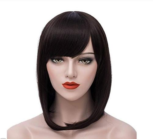Short Bob Wigs Purple Wig Women Cosplay Wig Straight Costume Wigs Girls Wigs Oblique Bangs Wigs 12 Inch with Wig Cap by Mersi