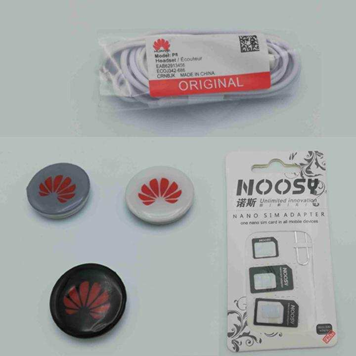 Pack of 3, Imported Original Stereo Huawei Handsfree White, POP Grip & Free Noosy Pin 4 in 1 Sim Adapter-White