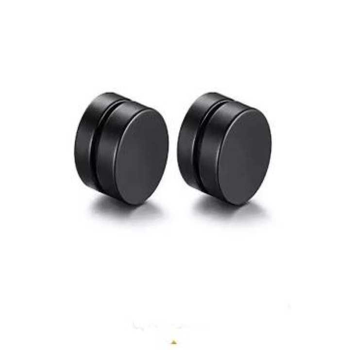 Black Magnetic Round Earrings For Men