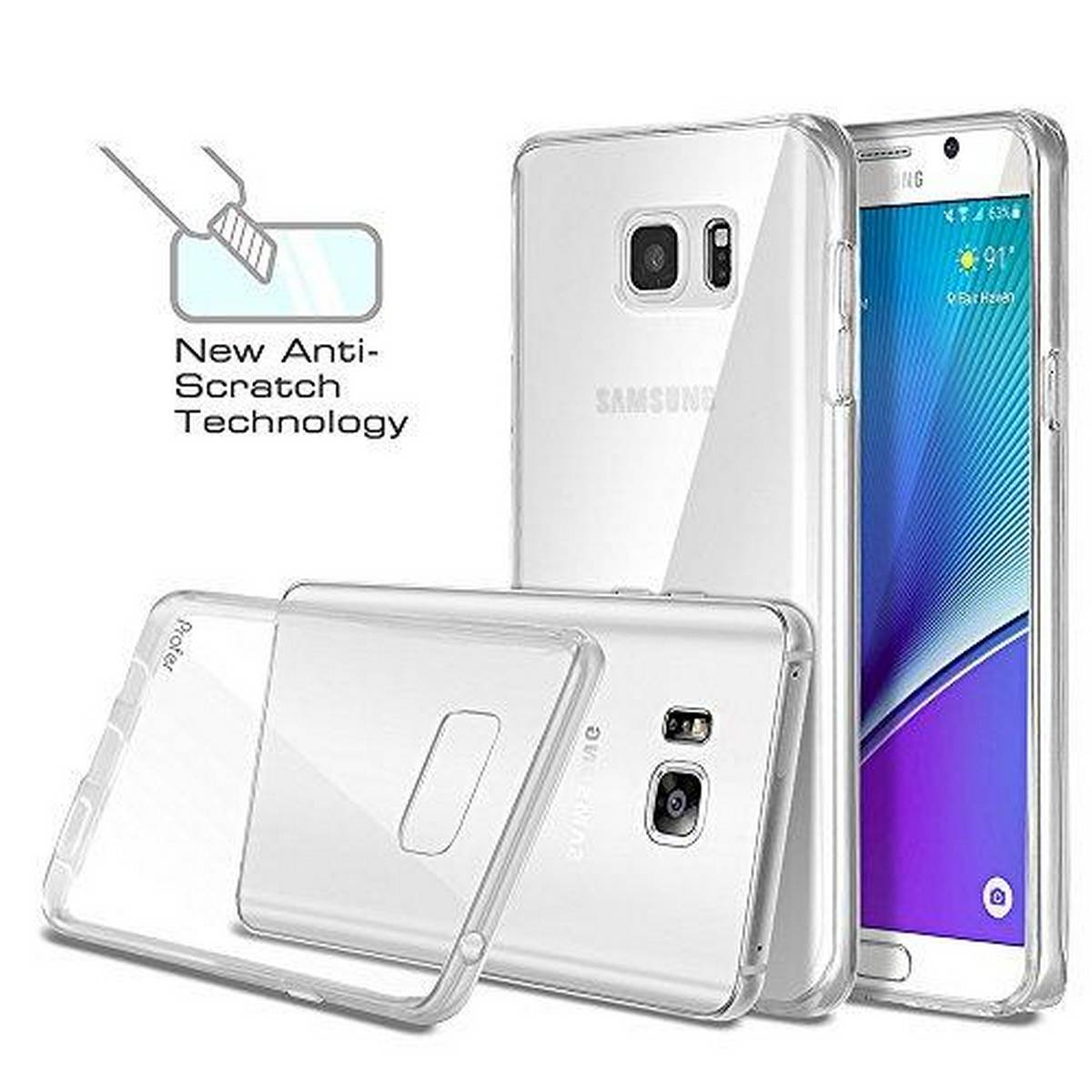 Samsung Galaxy Note 5 Flexible Case Soft Slim Jelly Transparent Clear TPU Cover