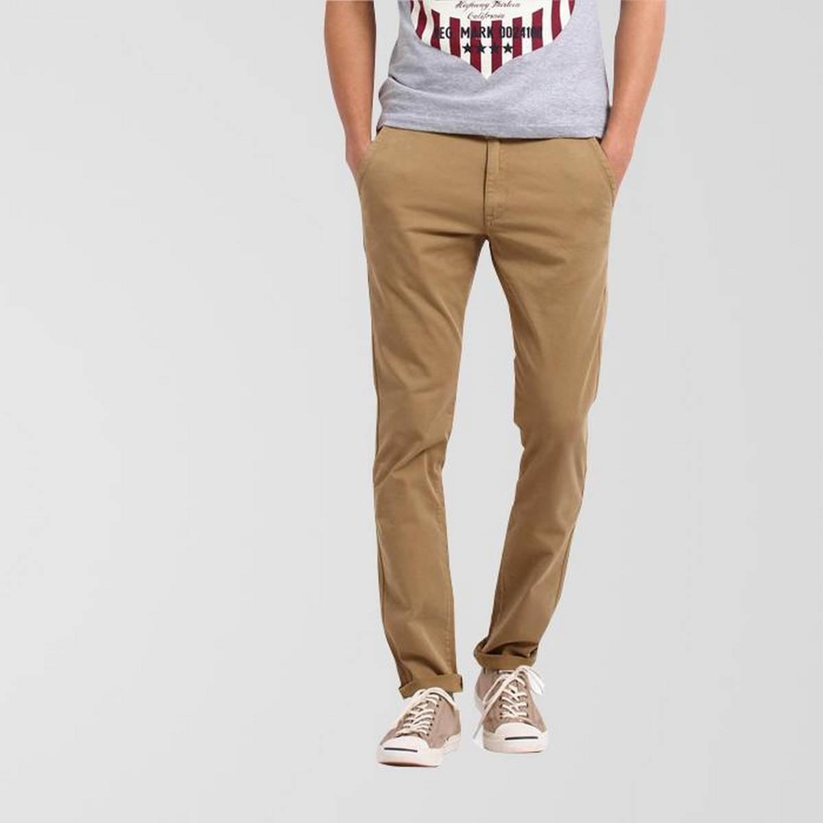 Khaki Color Stretchable Slim Fit Cotton Chinos