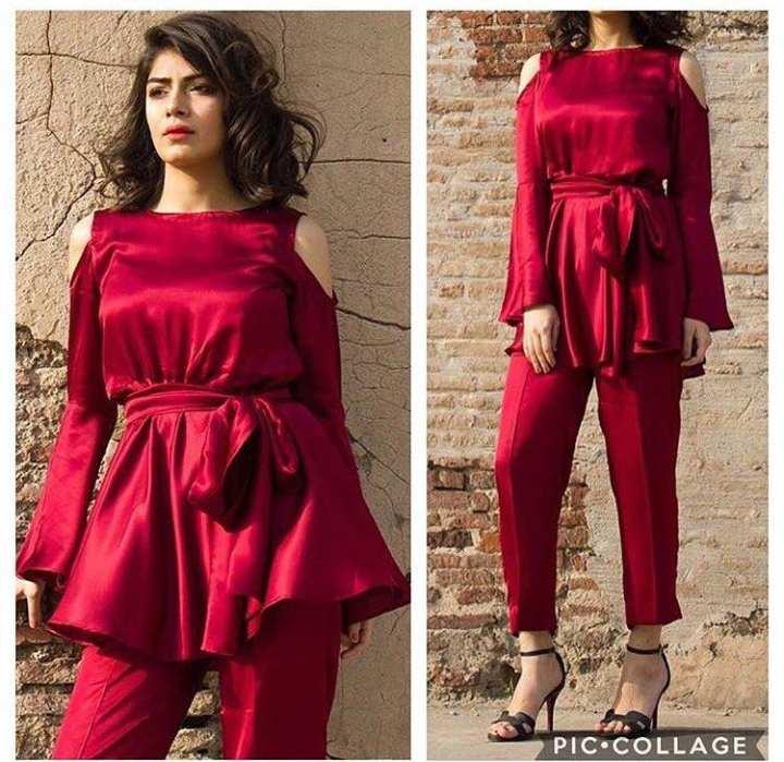 Brandstitch-Summer Collection Red Silk Cut Shoulder Suit For Women 1920