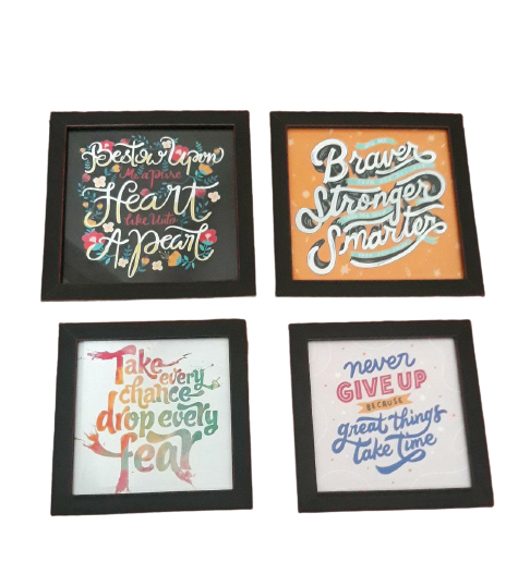 Modern Minimalist Frame 4 Pcs Motivational Quotes ( 2 x 5X5 + 2 x 6X6 Inches) Set Photo Wall Decoration Photo Frame Wall Hanging Home Decoration Picture Gallery for Living Room Bedroom Study Room