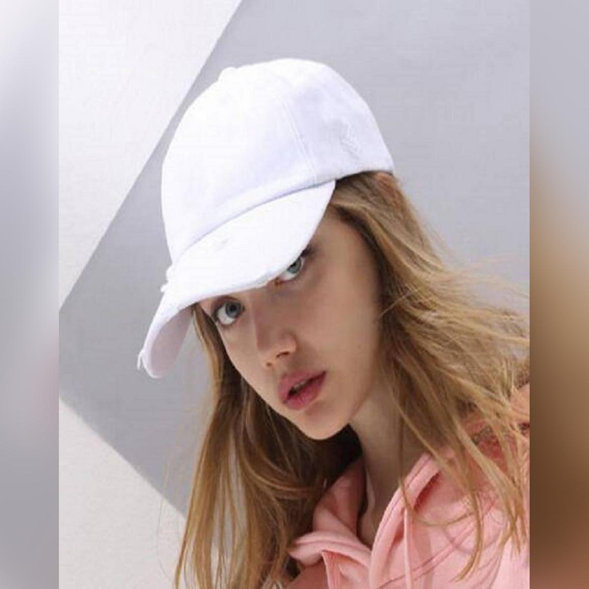 Cap For Girls Plain Sun Block & Baseball White