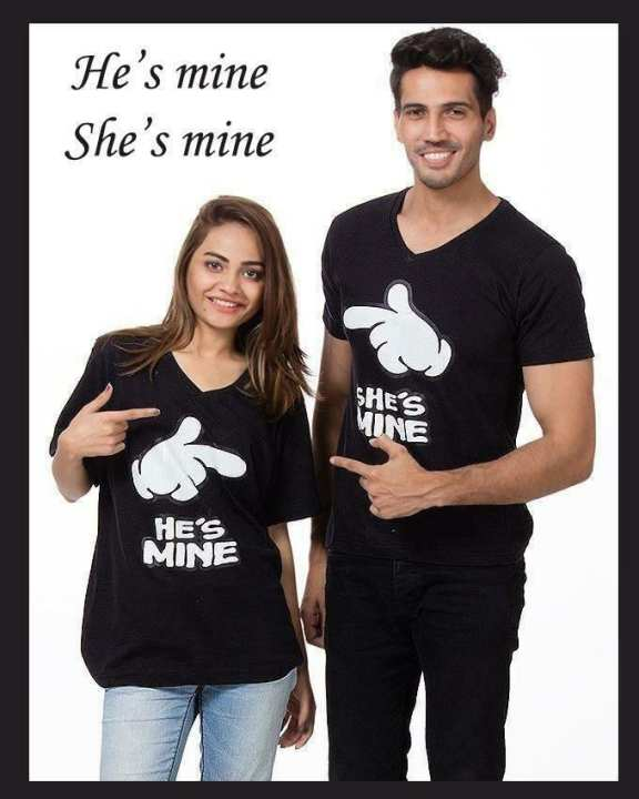 Pack of 2 Black Stylish Cute Couple Printed T Shirts