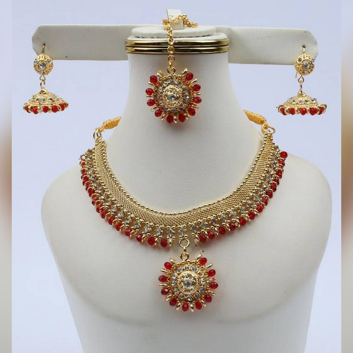 Golden Designer Jewellery Set with Red Stone