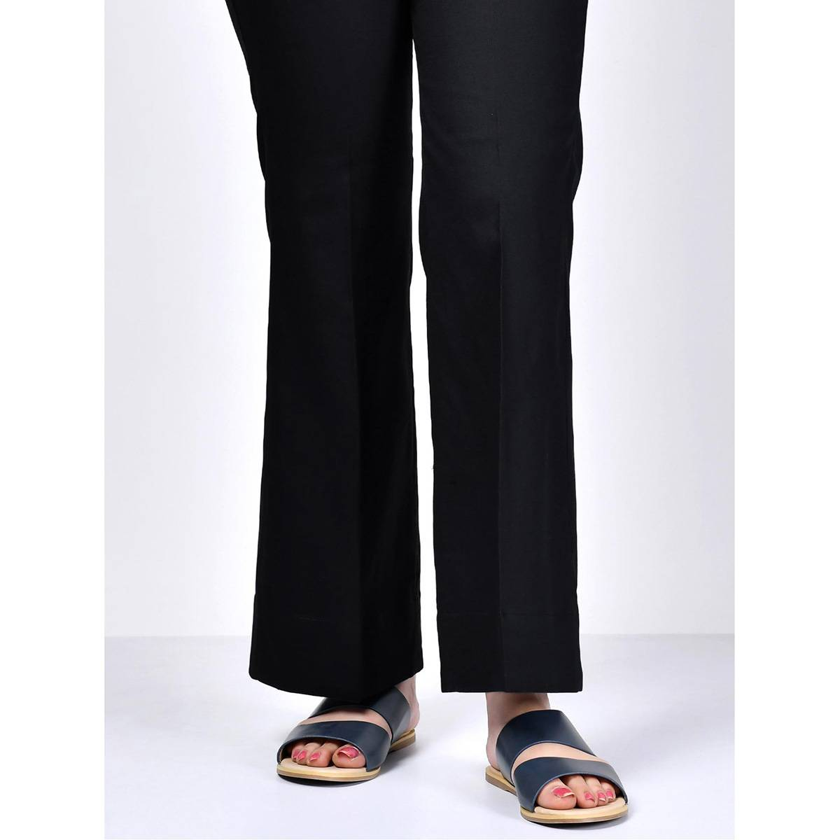 LimeLight Black Stitched Bootcut Pants For Women P3204-MDW-BLK
