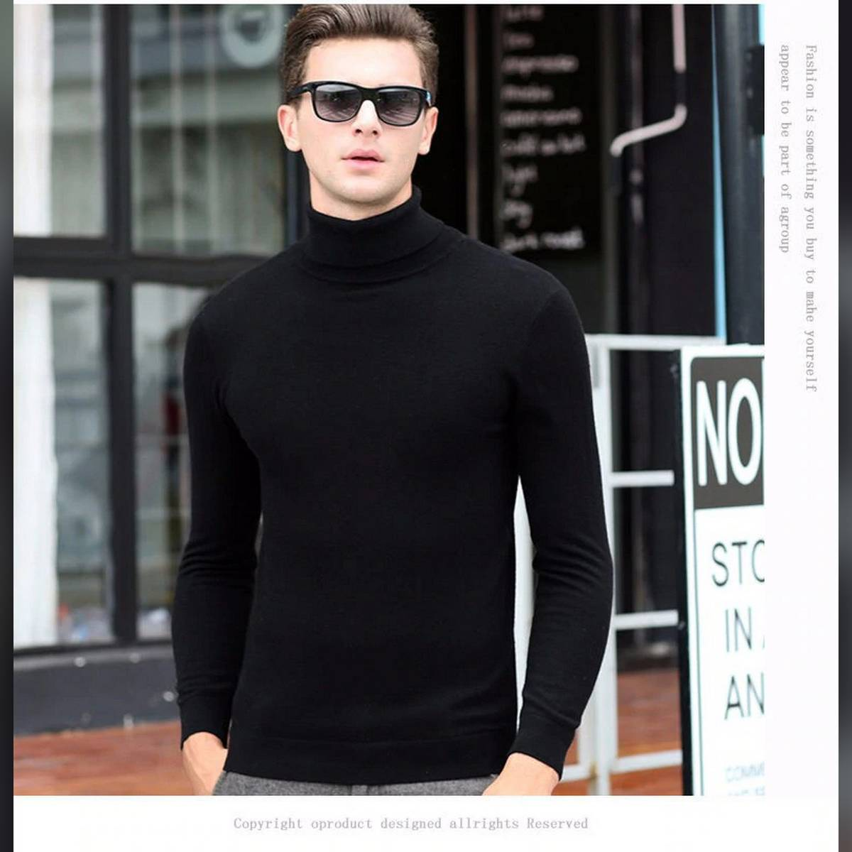 High Quality Men Boyss Winter High Neck 100% Soft Cotton Turtle Neck Hi neck Sweaters Stretch Shirt Tops Highneck Hineck Stretchable Skin Fit Top Gift Present