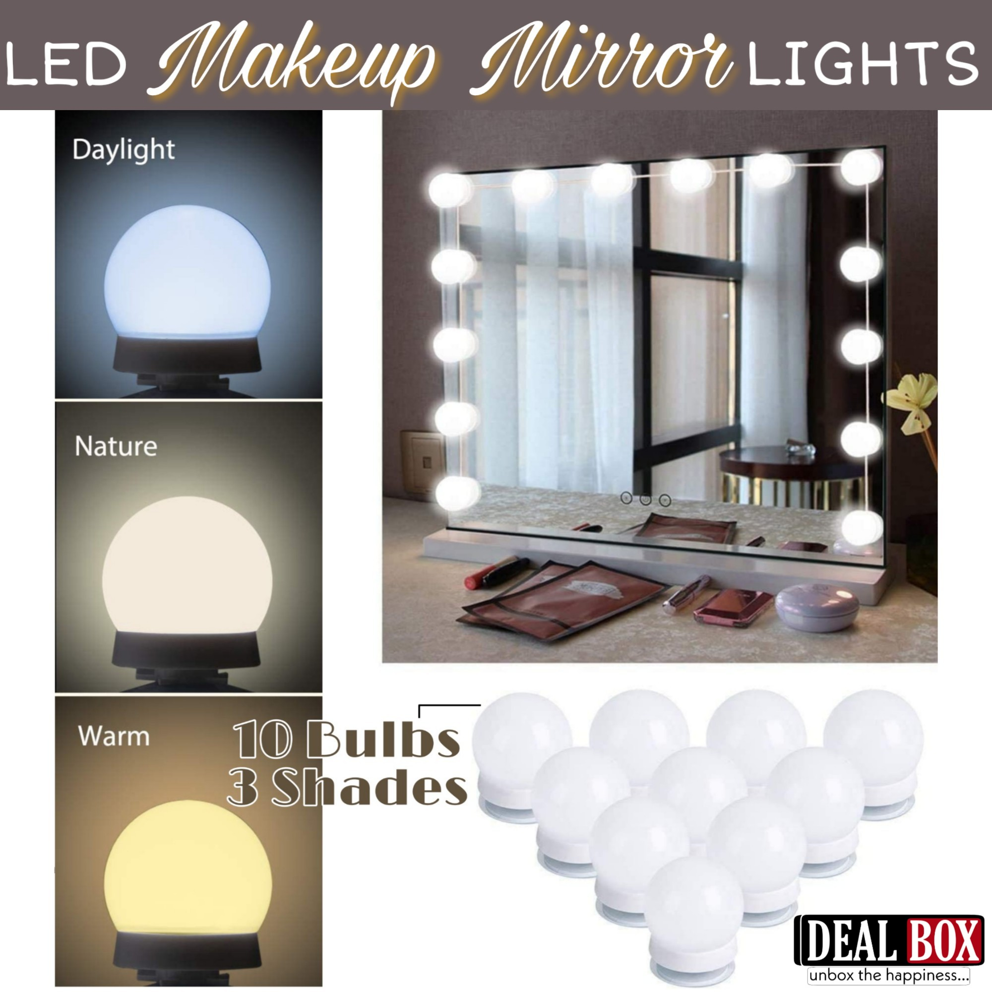 Vanity Light LED Bulbs for Makeup Mirror Stand  10 Bulbs with 3 Light Modes