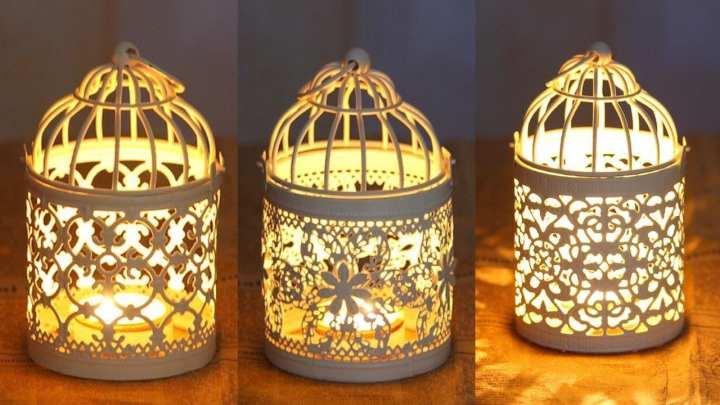 Pack Of 3 Candelabros Hollow Hanging Bird Cage Candle Holder Chandelier Lantern Decor Bridal Vintage Candlesticks Home Decor