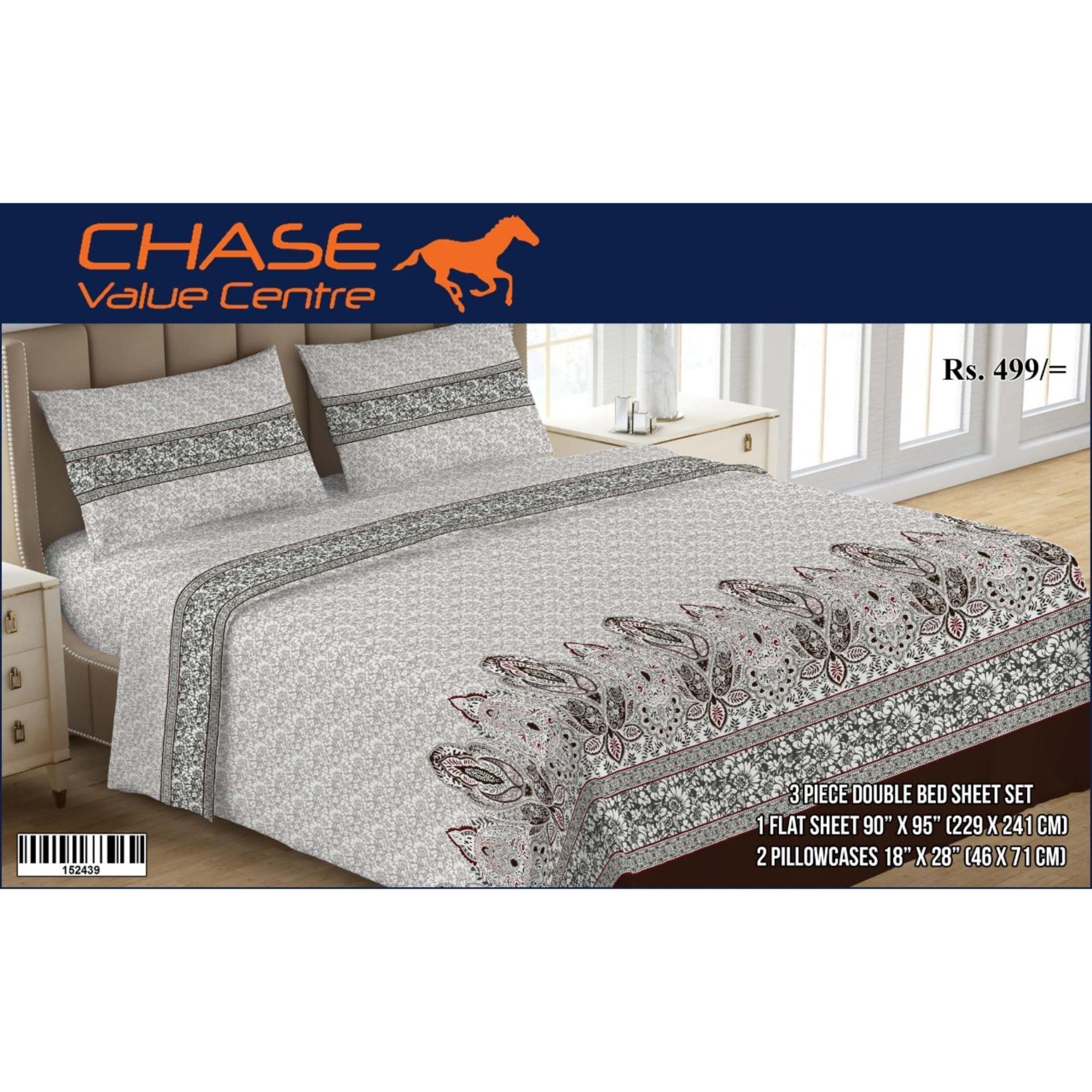 b24e3c35d 3 Piece Printed Double Bedsheet Set - MultiColor