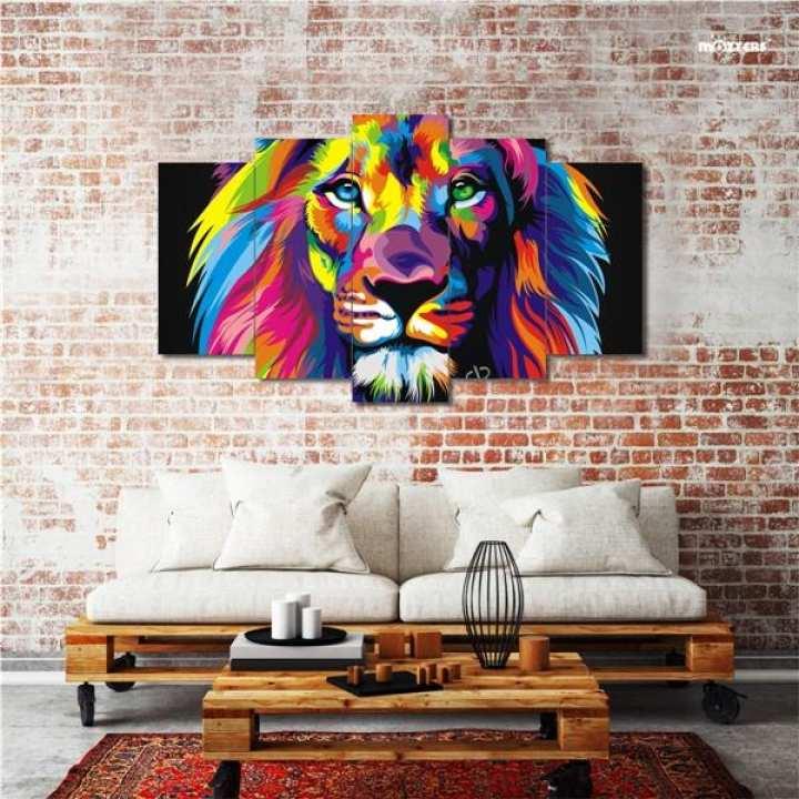 COLORFUL LION 5 PIECE SPLIT CANVAS FRAME MOZTER
