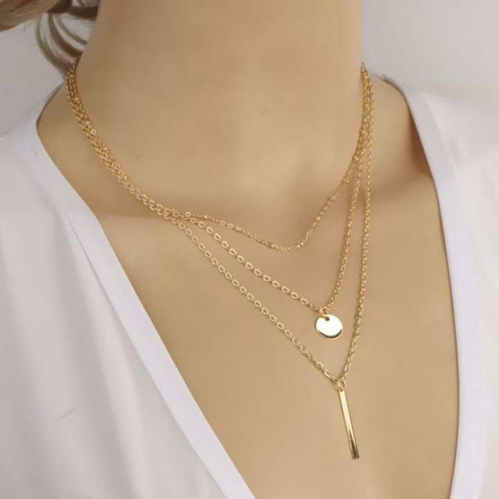 Multi Layers Bar Coin Necklace Clavicle Chains - Golden