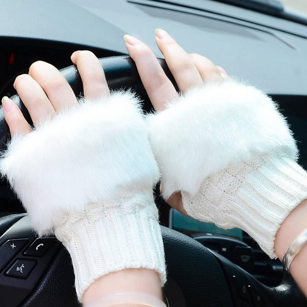 Wool Gloves Fancy Winter Women Grils wool glovs Gloves Knitting Woo wool glovs l Keep Warm Short Mitten Fingerless Lady Girl Half Finger Gloves Rabbit Lady hand Gloves KAAA689