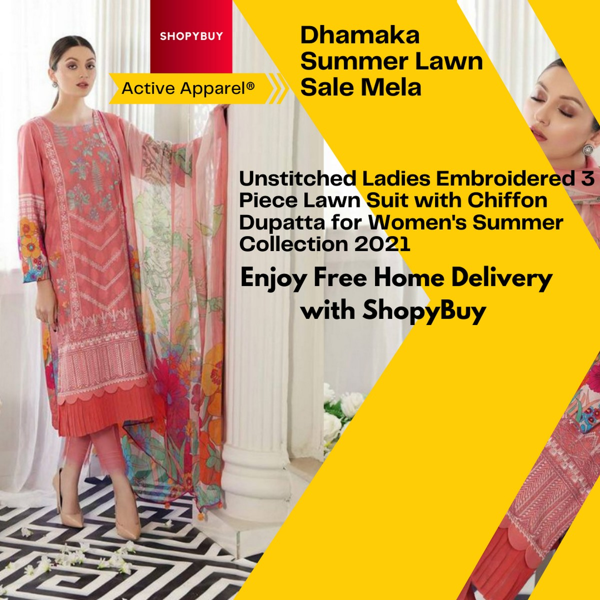 Unstitched Ladies Embroidered 3 Piece Lawn Suit with Chiffon Dupatta for Women's Summer Collection 2021