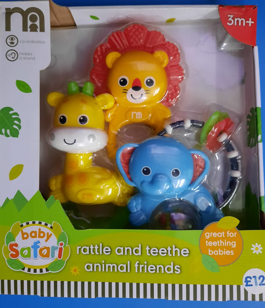 Baby Rattle 3 pc set Mothercare Rattle and teethe Animal Friends 2 in 1