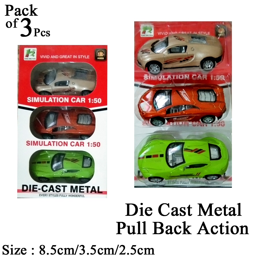 Pack of 3 Pcs - Complete Box Die Cast Metal Action Racing Car Set Toys - Kids & Boys Toys Diecast PullBack Car
