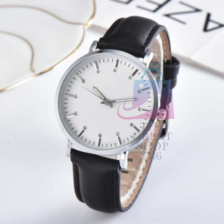 Top Luxury Business Fashion Casual Leather Strap Watch - Black