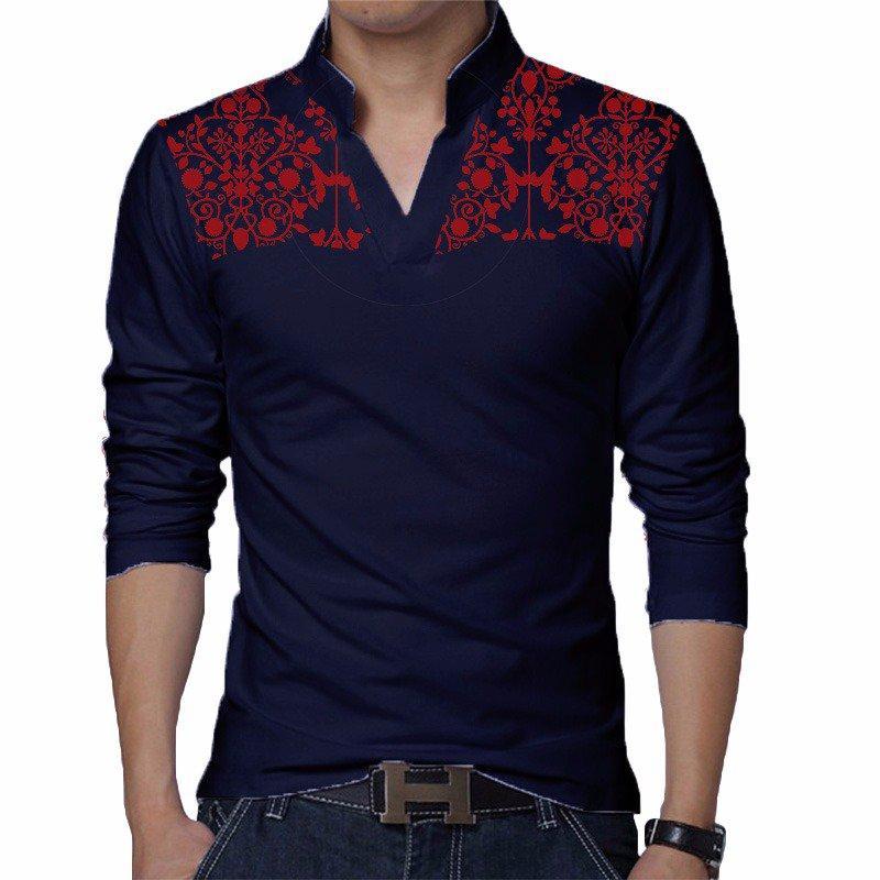 Shoulder Flower Printed Multi color Cotton Jersey T-Shirt For Men