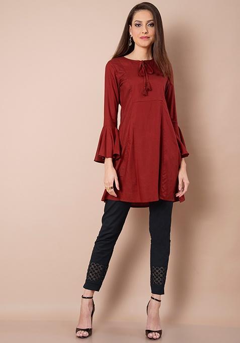 2045fb8848b DESIGNER Bell Sleeves MAroon Stylish Attractive PArty Casual Formal Wear  Tunic Top Shirt Blouse Dress Kurta