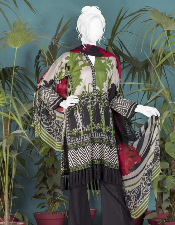 Junaid Jamshed Summer Collection 2019 Vol 2 Green Unstitched - 3 PCs Suit for Women