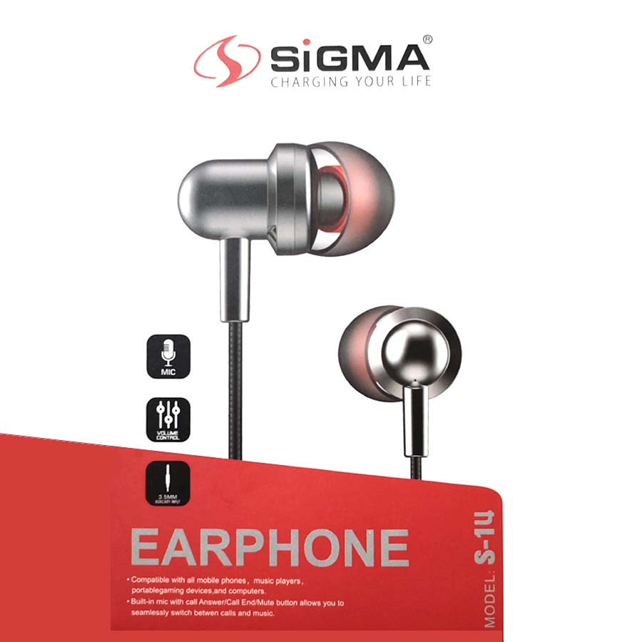 Sigma S-14 Best Universal Original Handsfree - Quality Stereo Bass Music Sound for PUBG Gamming Watching Movies - Wired with Mic Super comfortable handfree for girls men - 3.5mm jack Earphones Ear Buds , Head phones for Android Mobile Phones Tablet PC