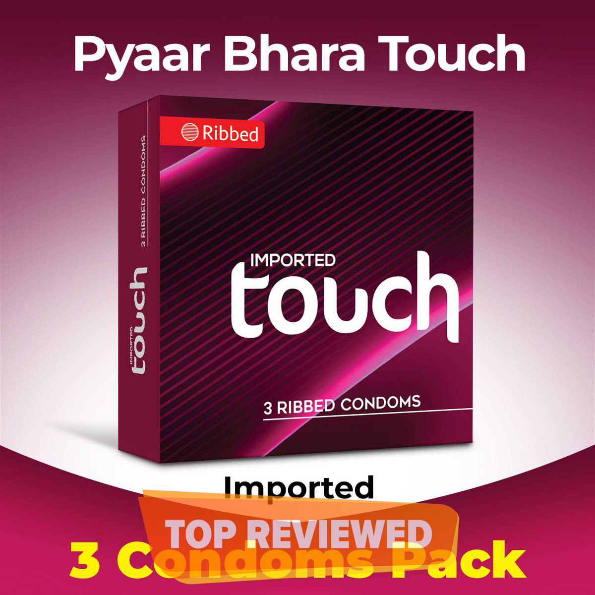 TOUCH Ribbed 3s Condom Pack