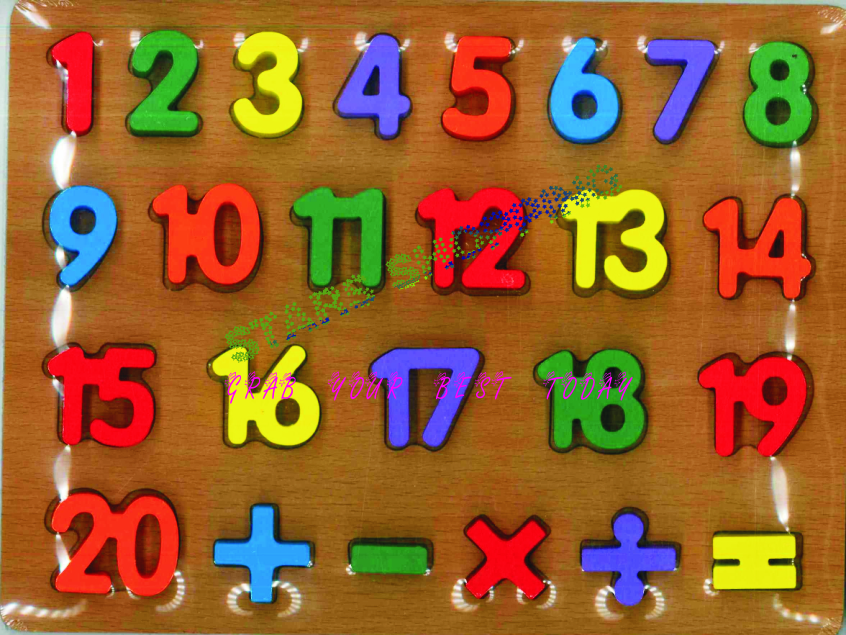 Kids Early Learning Wooden Craft Numbers 1 to 20 - 3D Pegged Puzzle Toy Plate Large Size A4