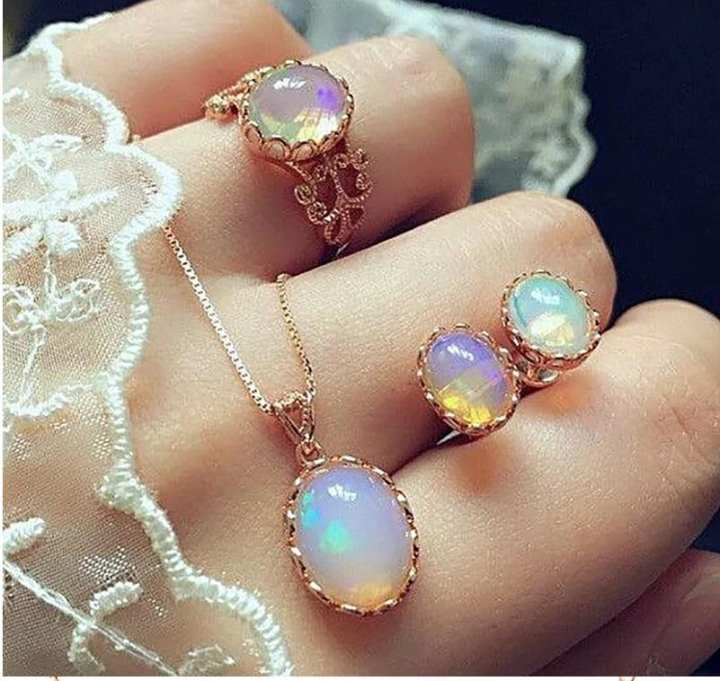 Opal Jewelry Sets 2019 For Woman Pendant Necklaces Choker Water Drop Earrings & Ring Gold Color